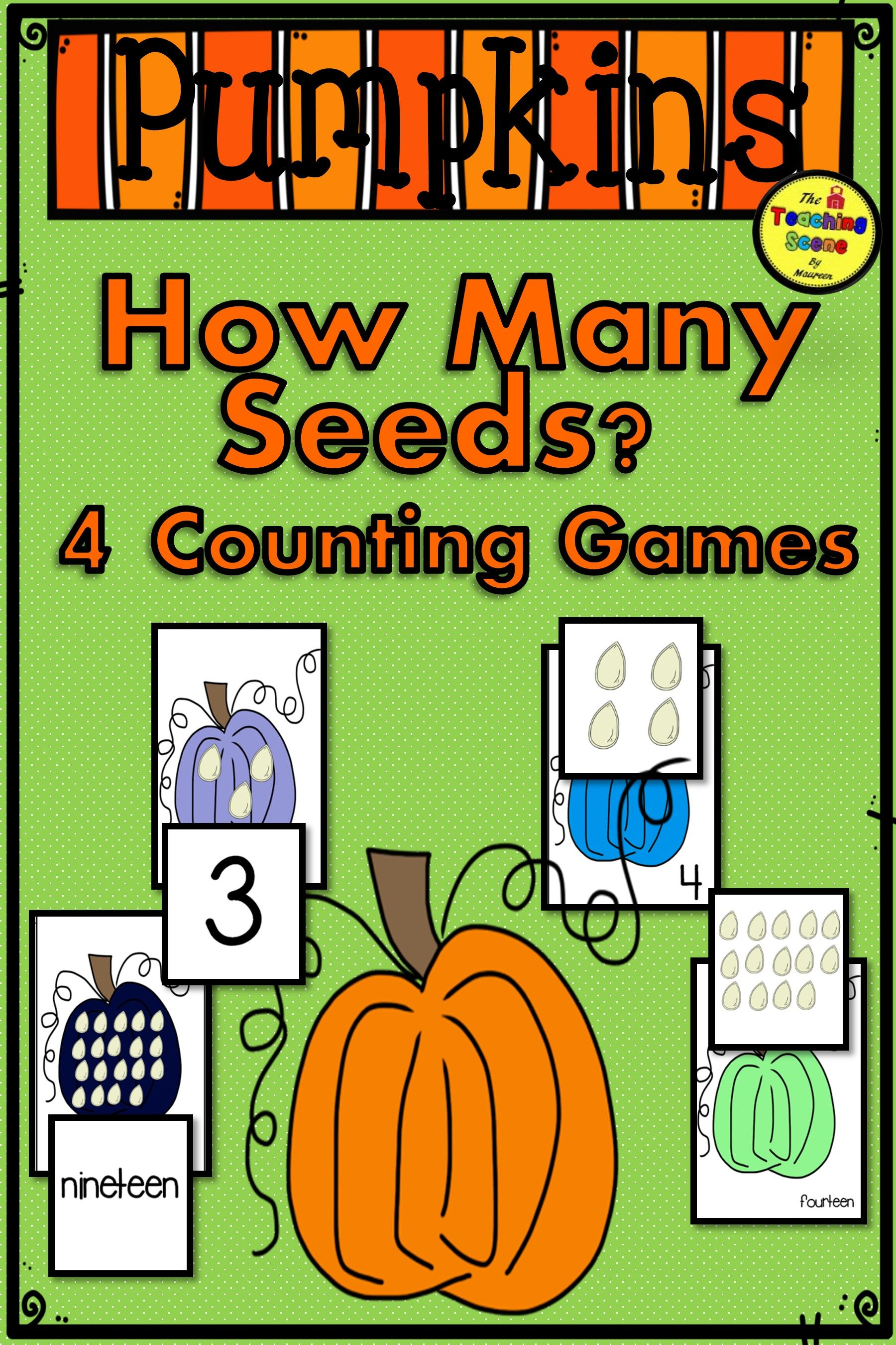 Pumpkin 0 20 Counting Games How Many Seeds