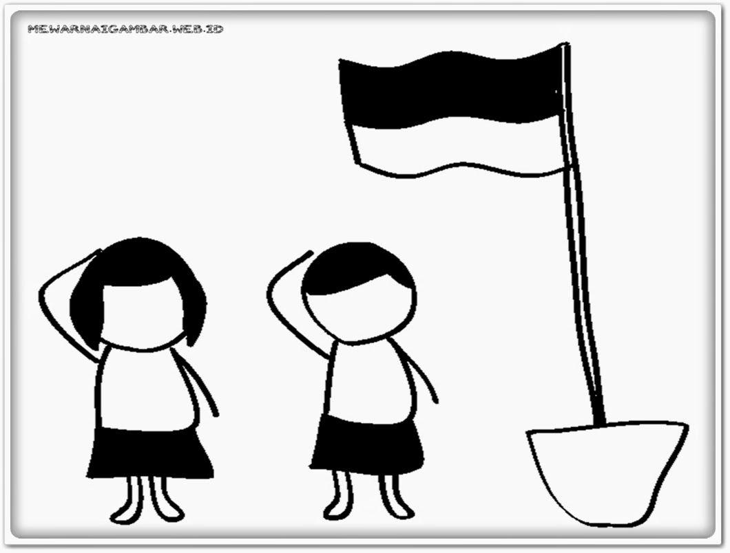 [Bisa diprint] Sketsa Gambar Upacara Bendera