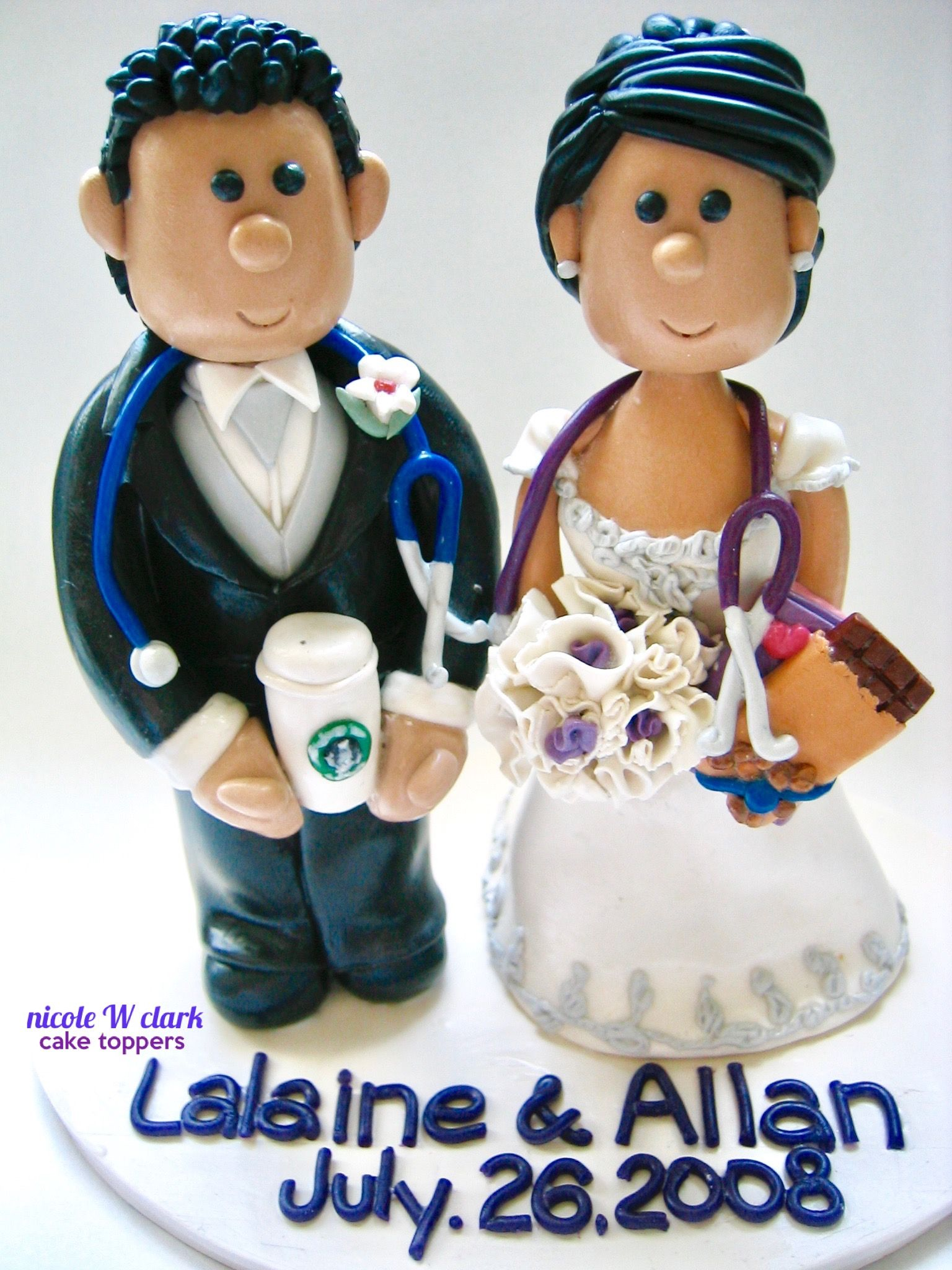 Nurse And Doctor Wedding Cake Toppers With Starbucks Medical Theme By