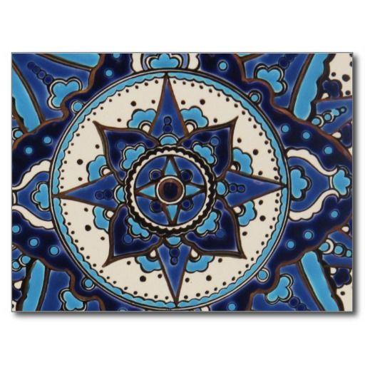 Diseño azul y blanco árabe antiguo abstracto de la postal