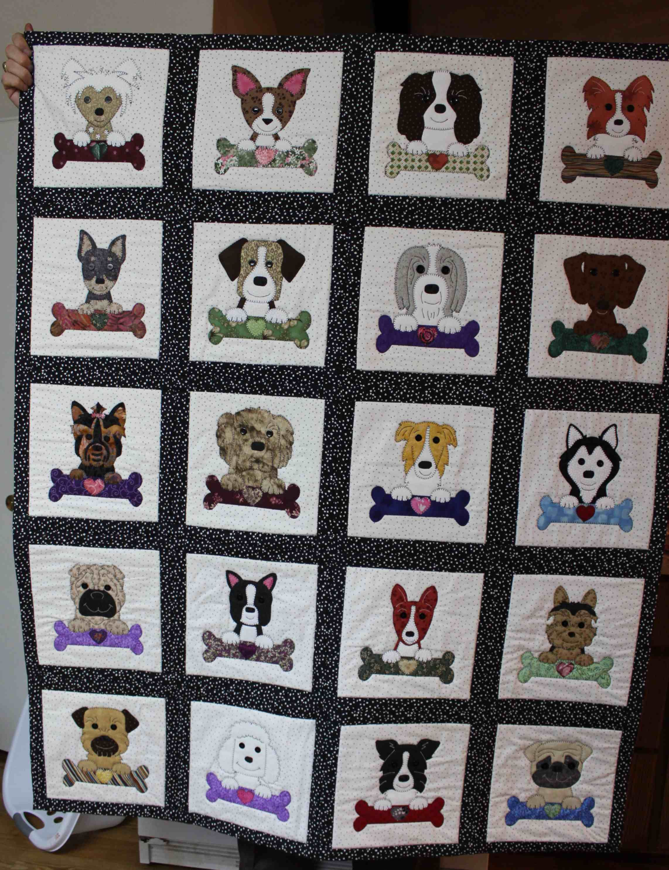 dog applique quilt dog quilt vii ii quilts ideen f r kinderquilts pinterest. Black Bedroom Furniture Sets. Home Design Ideas