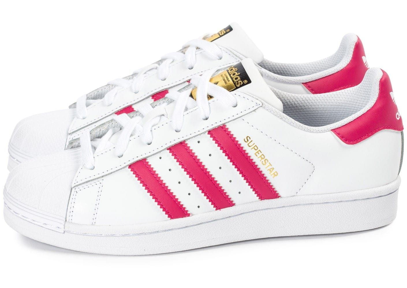 new arrival 166ed 9b104 Chaussures adidas Superstar Foundation Junior blanche et rose vue extérieure