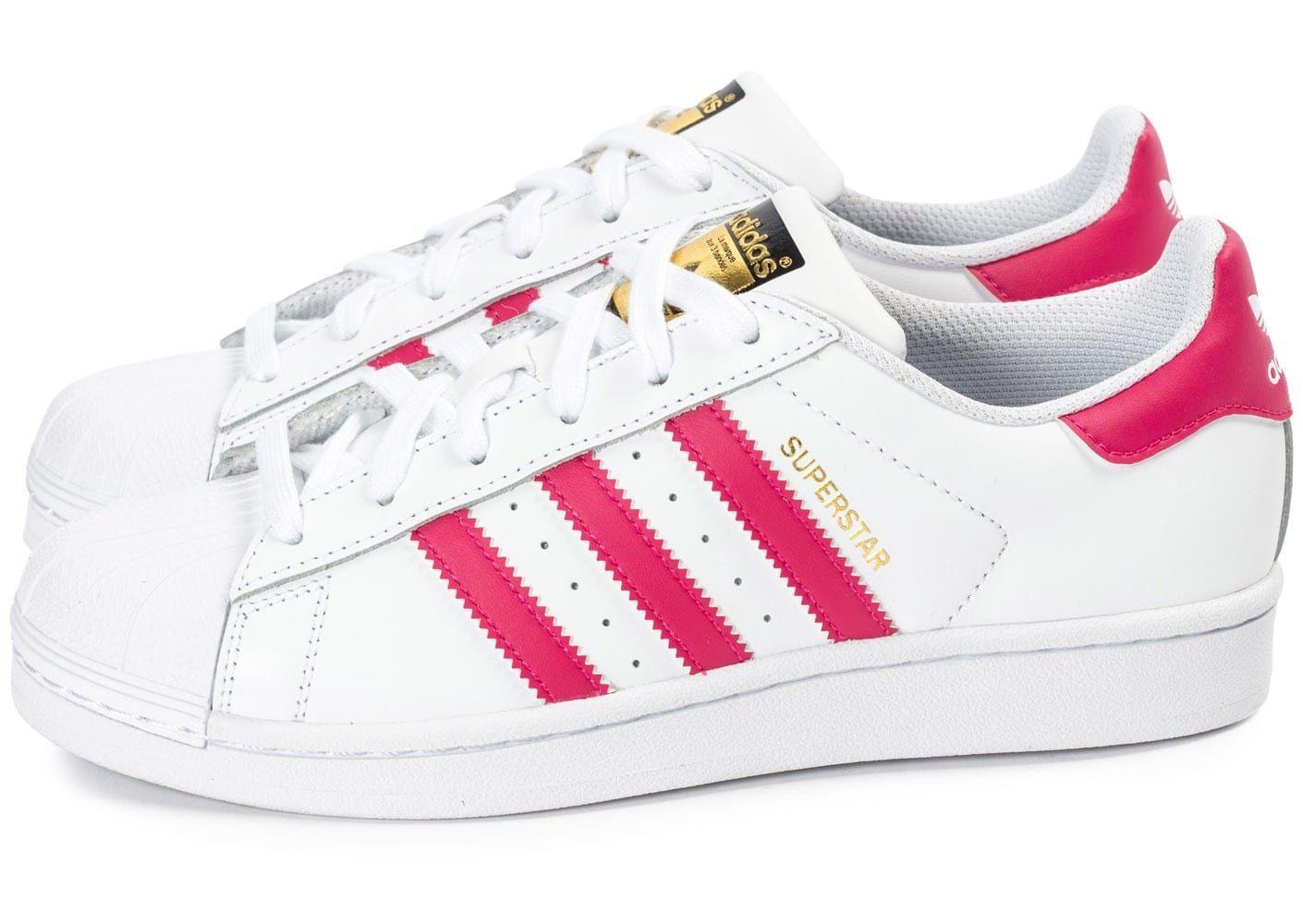 Chaussures adidas Superstar Foundation Junior blanche et rose vue extérieure
