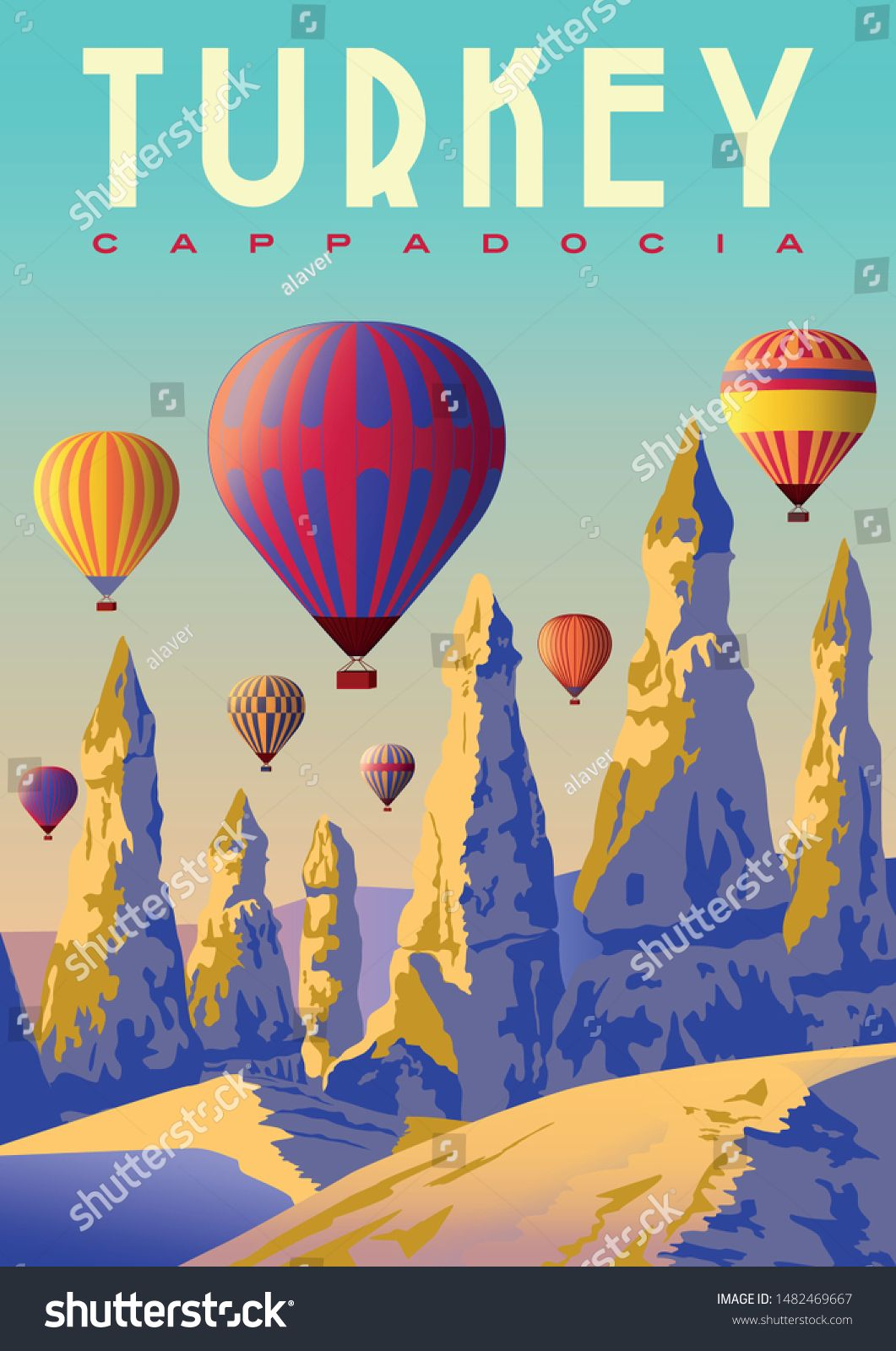 Hot air Balloons in the morning over the Love Valley in