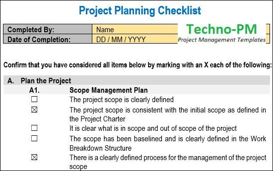 Learn To Note Project Planning Checklist