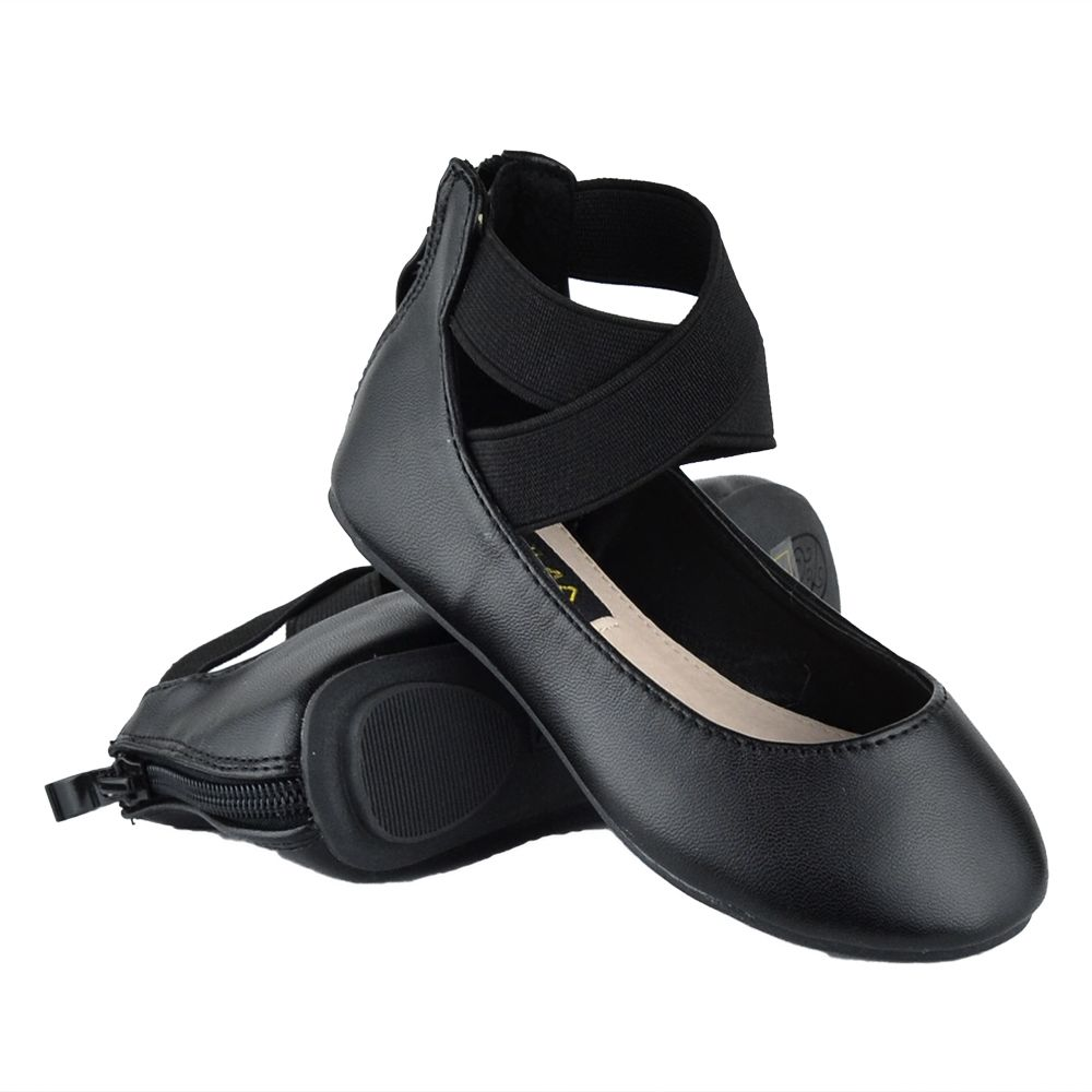 Kids Ballet Flats Elastic X-Strap Girls Leather Fahion Shoes Brown