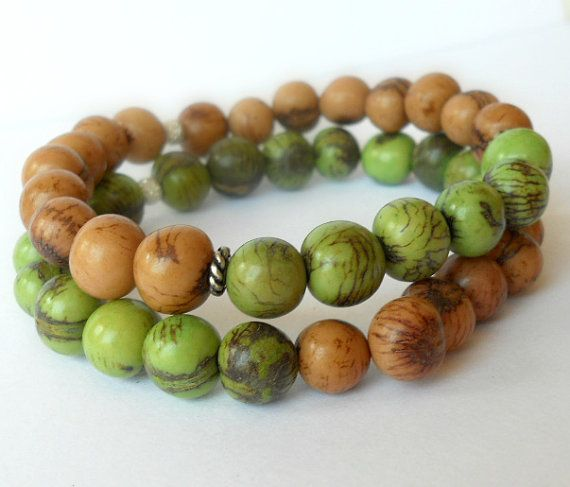 Acai Bead Bracelet Set in Light Brown and by theblackstarboutique, $25.00