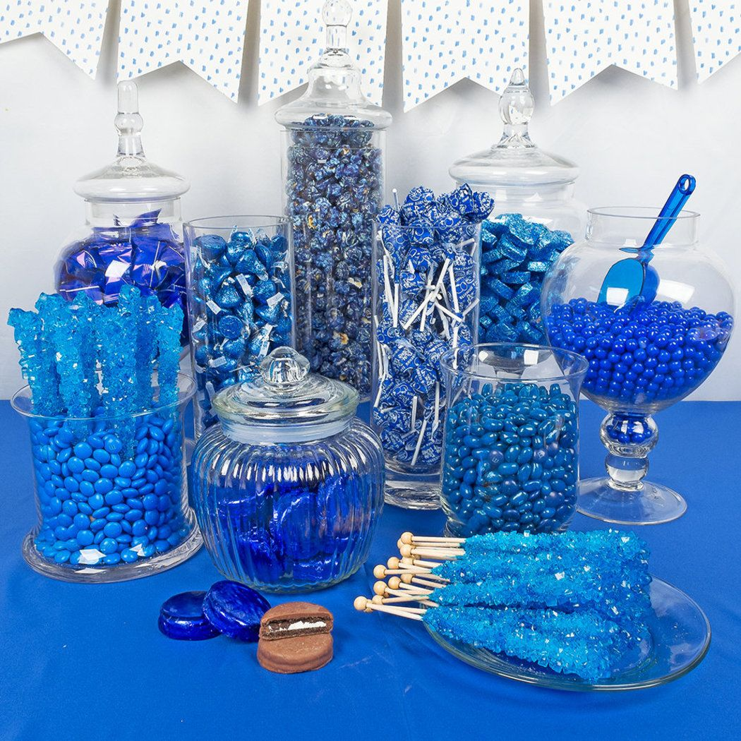 Blue Premium Candy Buffet In 2020 Sweet 16 Decorations Blue Candy Buffet Candy Buffet