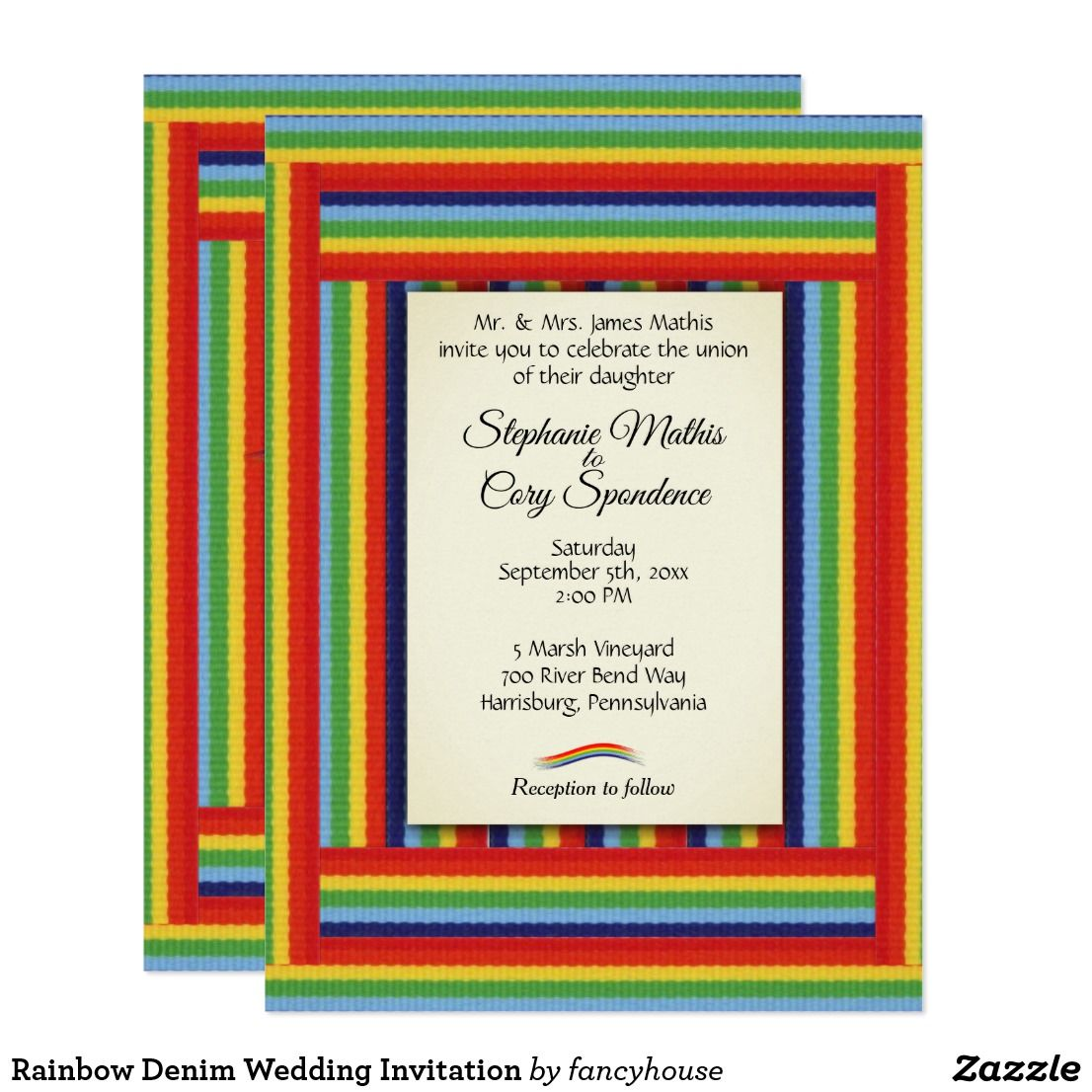 Luxury Rainbow Wedding Invites Photos - Invitations and ...