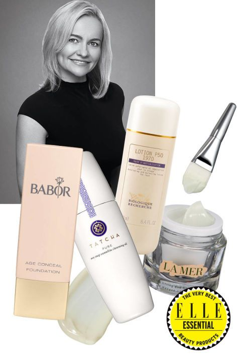 """Joanna Czech. Practice: Paul Labrecque Spa and Salon at the CORE Club, New York. Secret weapon: Czech revives lackluster complexions with an ultrasonic peel, in which a vibrating nozzle pushes mineral-rich H2O into the skin. """"It sloughs off the dehydrated cells and leaves skin looking dewy."""" La Mer The Lifting & Firming Mask, $230, Tatcha Pure One Step Camellia Cleansing Oil, $48;Babor Age Conceal Foundation, $45"""
