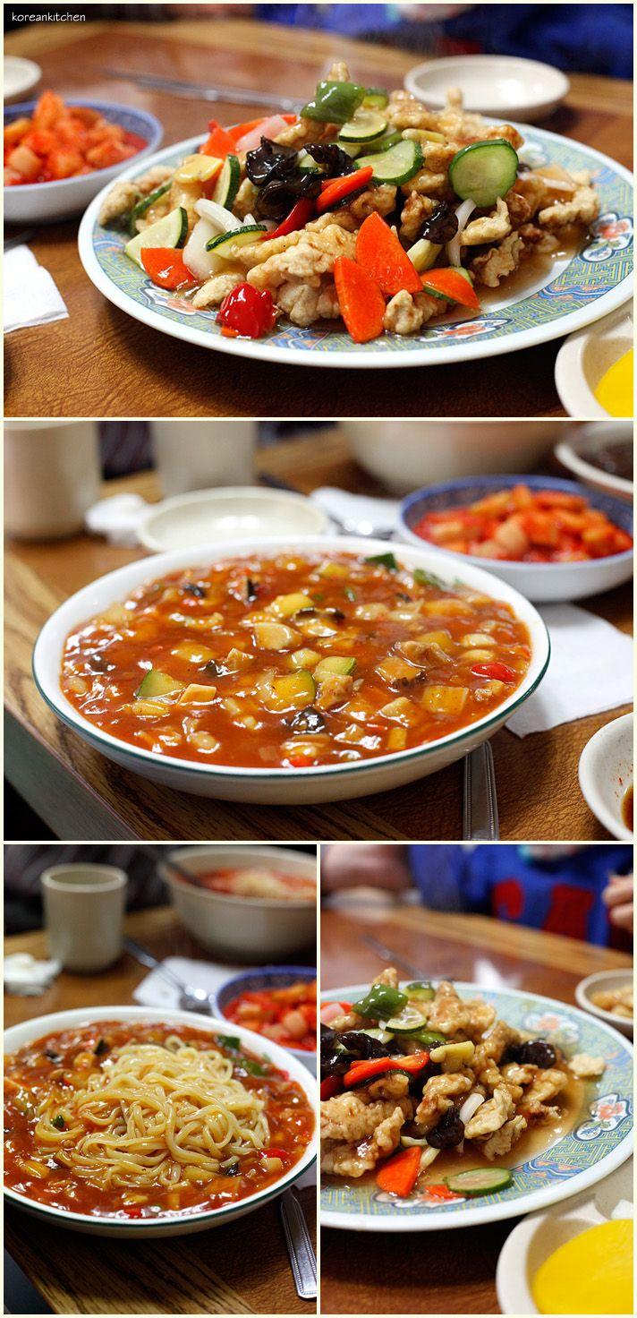 Korean Style Chinese Food Tangsuyuk Sweet Sour Pork And Muljjajang Soupy Jjajangmyoen Gunsan Korea Korea
