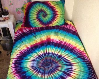 Custom Tie Dye Bedding, Tye Dye Bed Sheet Set | Tie dye bedding ...