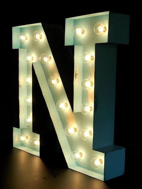 Marquee Bulb Letter N by ThrowbackDesigns on Etsy