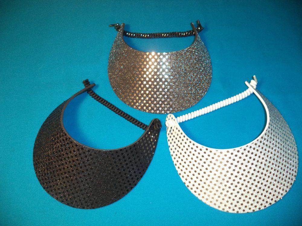 77d40a4d0 Details about Women Sequin Sun Visor Hats, No Headache Foam, Black ...