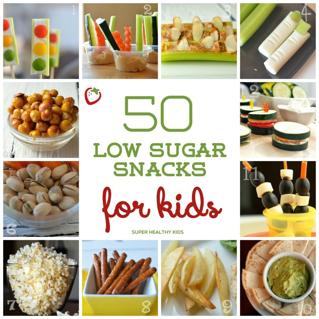 50 Low Sugar Snacks for Kids - 50 Snacks that Will Keep Sugar Cravings at Bay http://www.superhealthykids.com/50-low-sugar-snacks-for-kids/