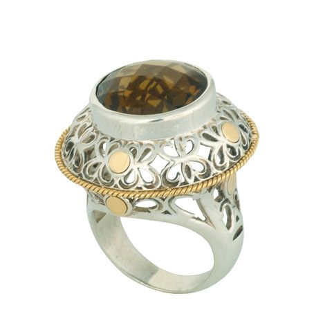 Coronation Day (CD004) Infusing texture and dimension, this dazzling round sterling silver ring is set with smoky quartz stone topped off with 18k gold. Sublime beauty.