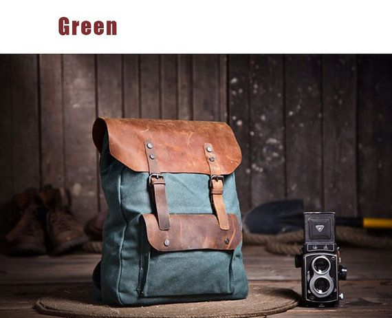 Handmade leather canvas backpack canvas travel by PickledHOTpepper
