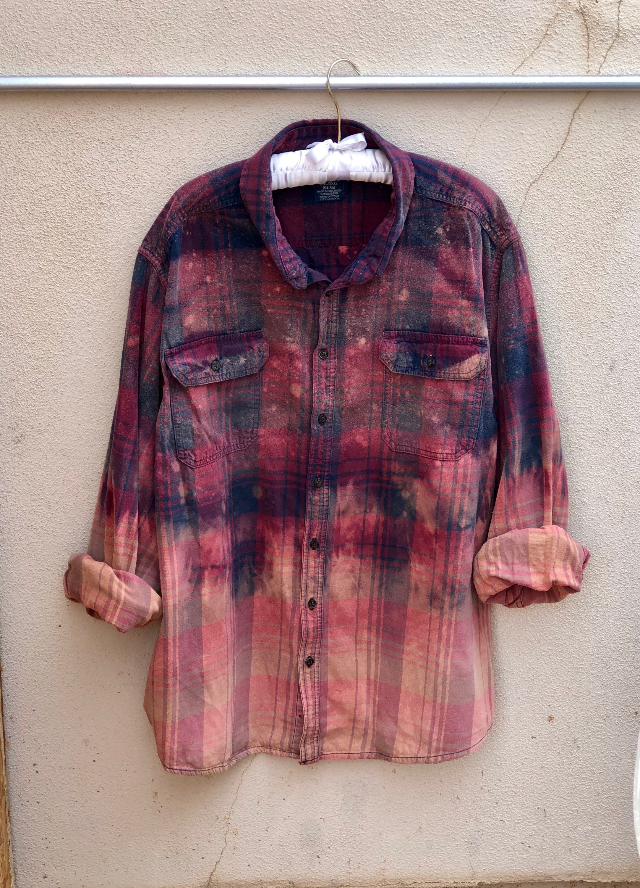 4da89c90 Upcycled Bleached Flannel Shirt, Plus Size, 3XL, Ombre Bleached, Red and  Blue by TheVintagePalominoCo on Etsy