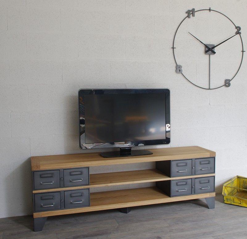 meuble tv métallique et bois meuble tv Pinterest Tv stands