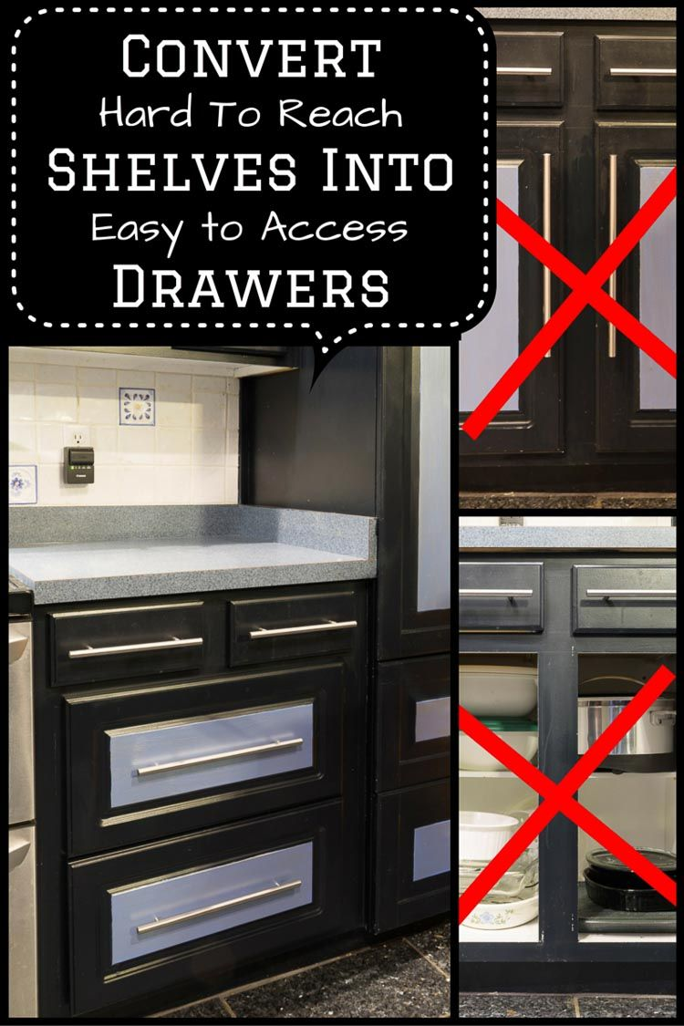 How To Convert Base Cabinet Shelves To Drawers Kitchen