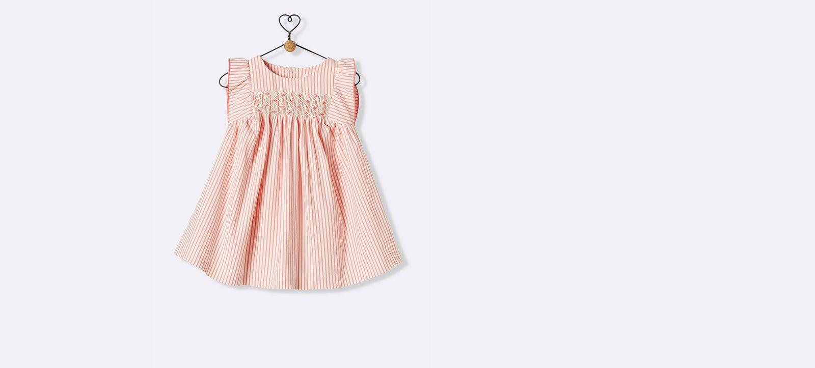 24843435f1c6d Robe à smocks bébé - Imprimé Cerisier+Rayé rose écru - 5