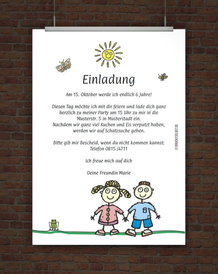 Kindergeburtstagseinladung Mit Einladungstext Glückwünsche