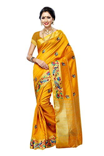07c63aec755f40 Mimosa Women'STassar silk Saree with Hand Embroidery Color: Gold(3220-2085