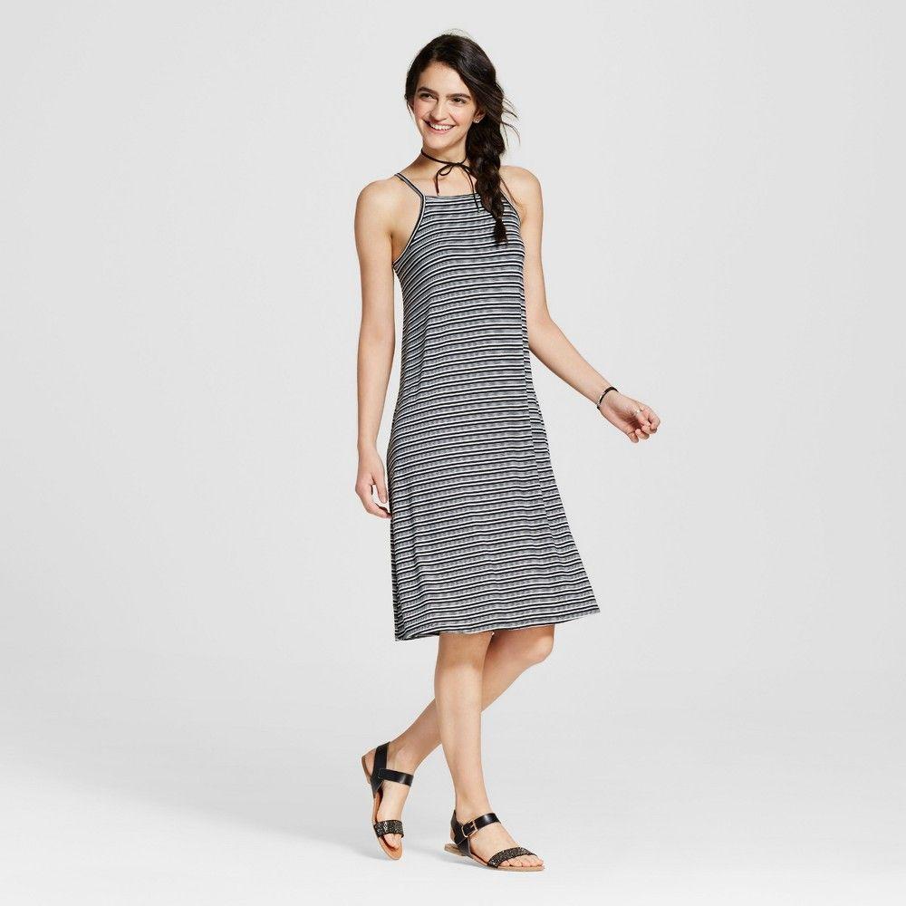 Women's High Neck Midi Swing Dress Black Stripe S - Mossimo Supply Co.