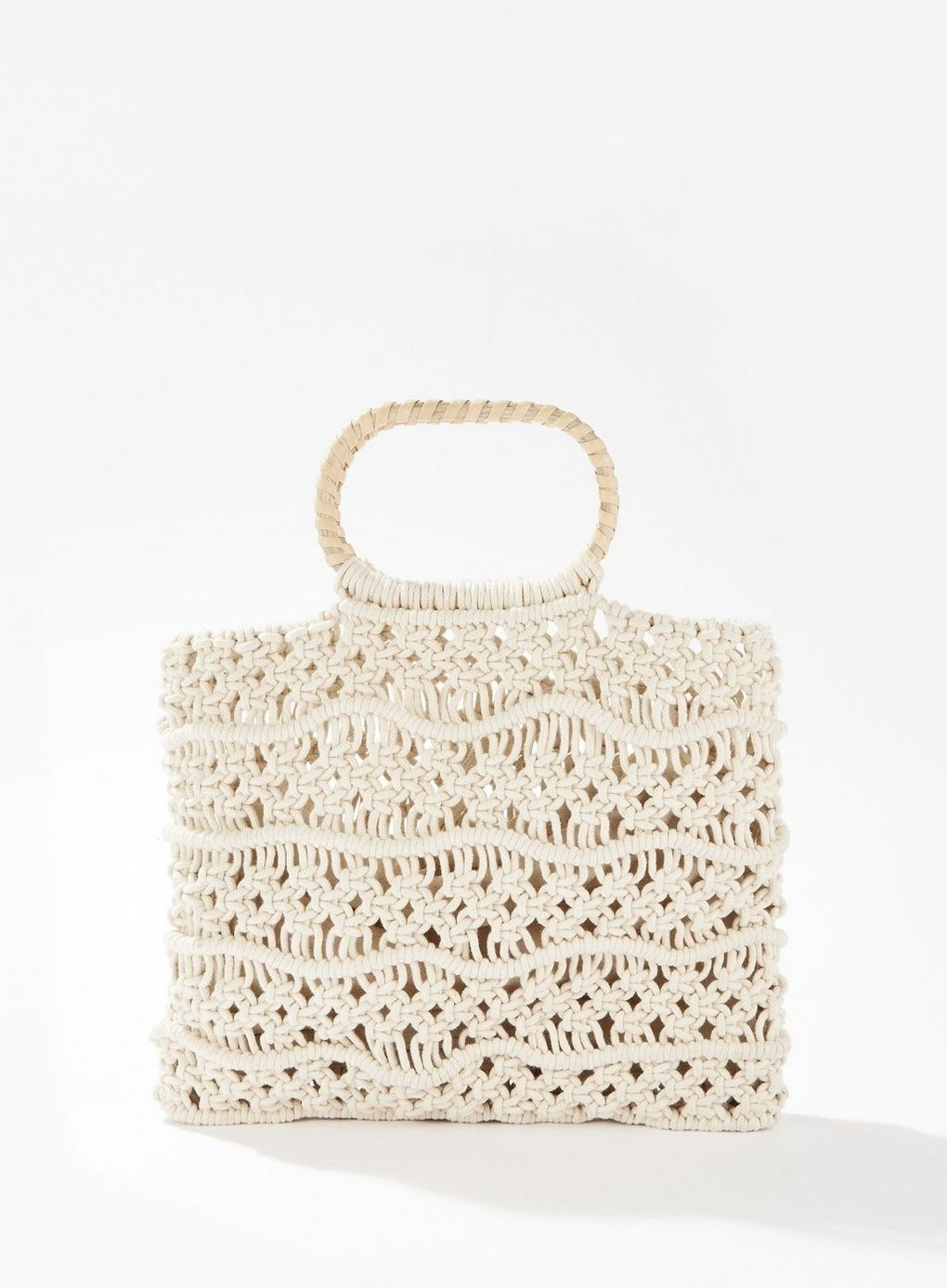Wooden Handle Macrame Tote Bag #woodentotebag