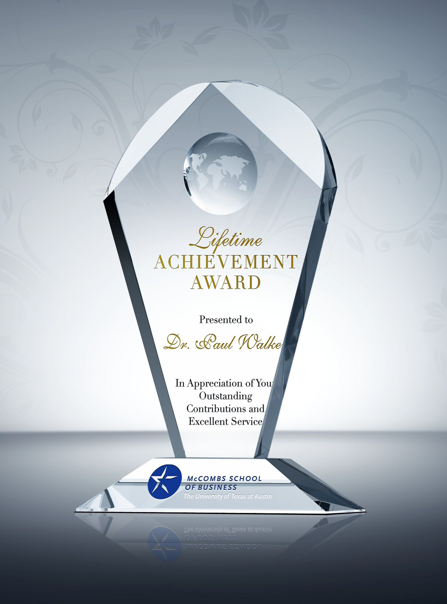 Lifetime Achievement Award Trophy  Excellence Award Wording