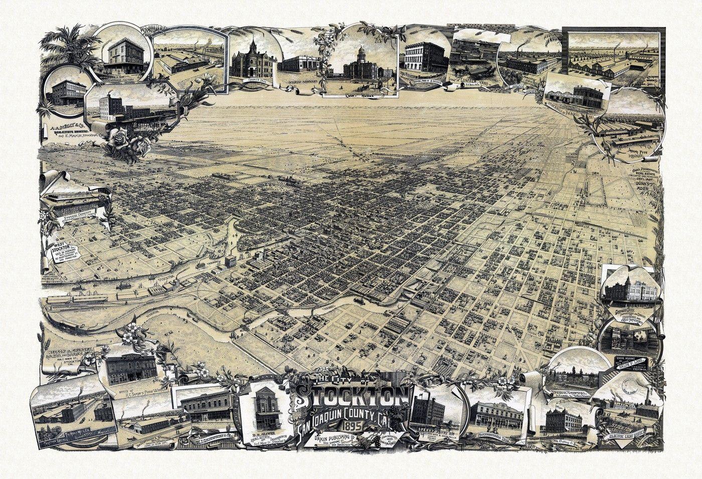 Old Map of Stockton California 1895 San Joaquin County Poster