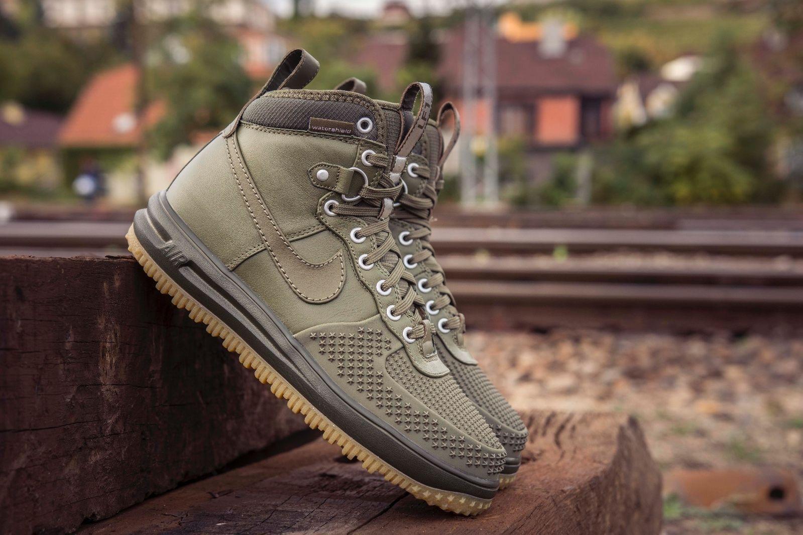 NIKE LUNAR AIR FORCE ONE 1 DUCK BOOT MEDIUM OLIVE GREEN 805899 201  #nikesportswear #