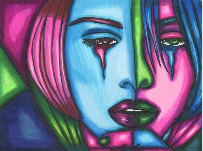 Crying Games Womans Face Abstract Original Drawing Painting