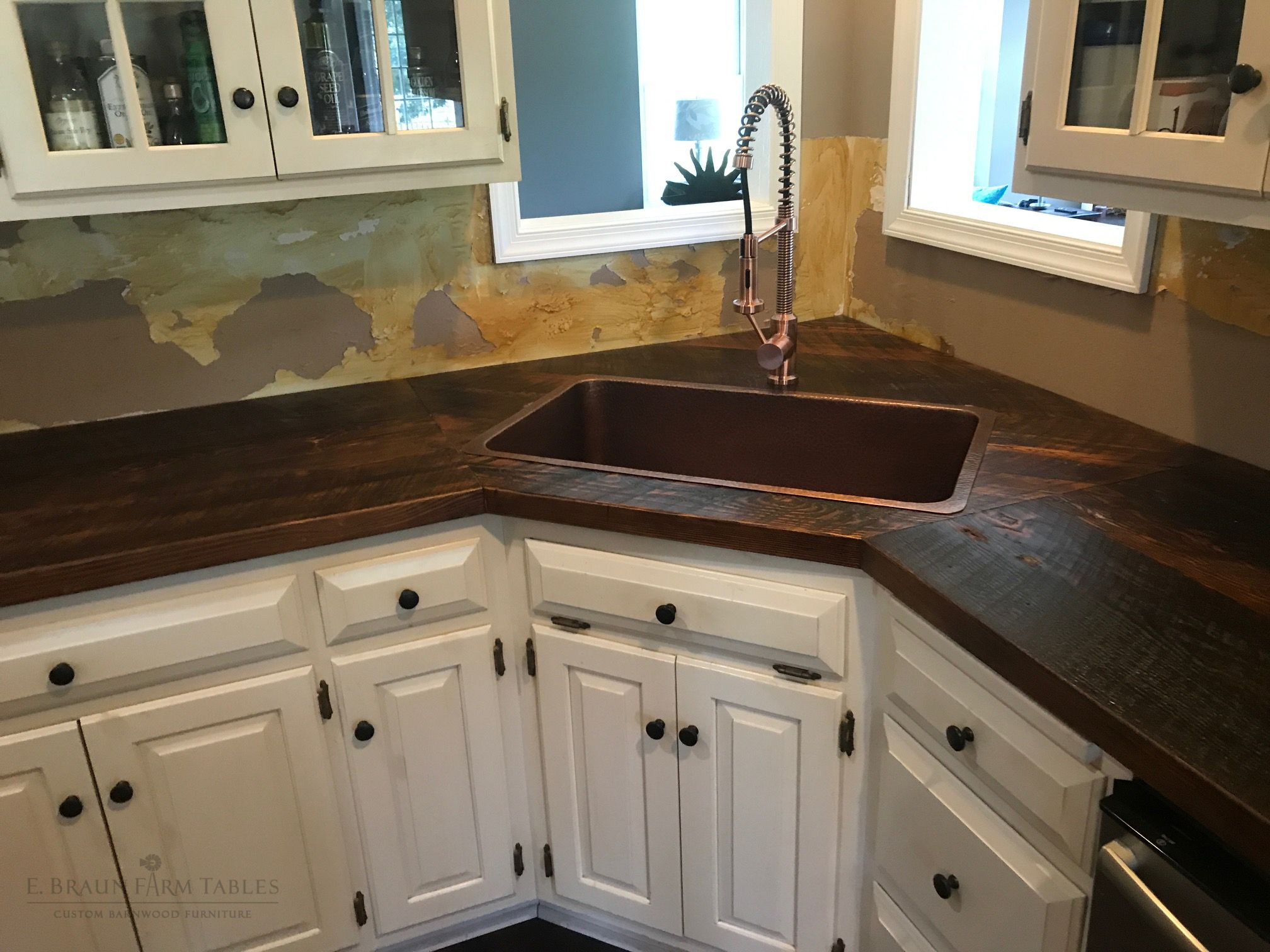 Barnwood Countertops Custom Made For Existing Kitchen Cabinetry Reclaimed Wood From Dismantled Barns And Discount Kitchen Cabinets Kitchen Renovation Kitchen
