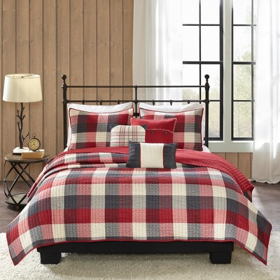 6pc Full Queen Warren Herringbone Quilted Coverlet Set With Decorative Pillows Red In 2021 Country Bedding Sets Bedding Sets Home