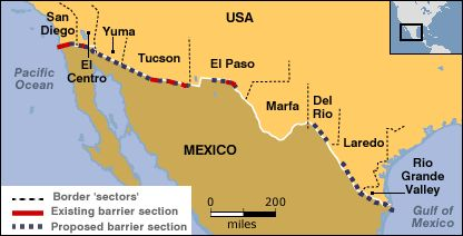 Mexicoboarders MUR MEXIQUEUSA Pinterest - Us mexico border crossings map