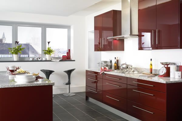 Haddington Burgundy Chic Kitchen In Hi Gloss Wooden Doors