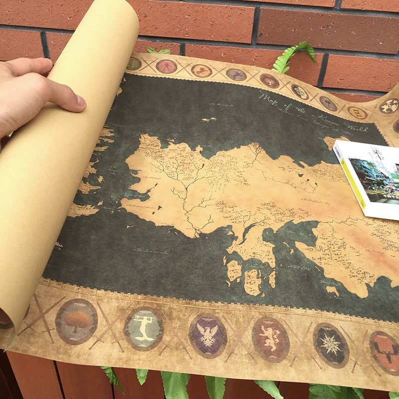 Game Of Thrones Vintage World Map Poster Retro Wall Art Sticker ...
