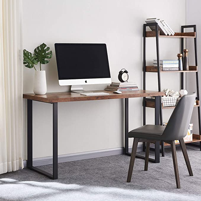 Amazon Com Vinext Computer Desk 55 Modern Writing Desk Simple Study Table Industrial Office Desk In 2020 Writing Desk Modern Computer Desks For Home Study Table