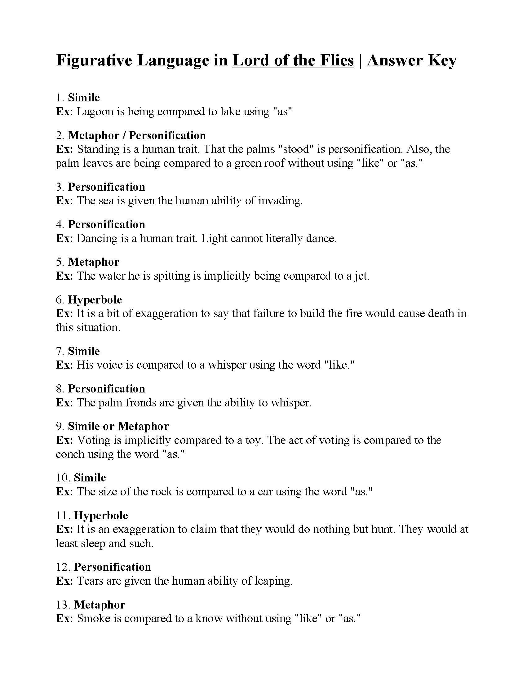 Figurative Language Worksheet Lord Of The Flies Answers Figurative Language Worksheet Language Worksheets Figurative Language Pete's powerpoint station is your destination for free powerpoint presentations for kids and teachers about figurative language, and so much more. figurative language worksheet lord of