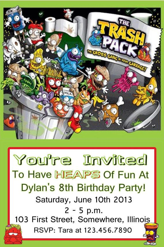 Trash Pack Birthday Party Invitations Trash by KiddieCreations1 – Packs of Party Invitations