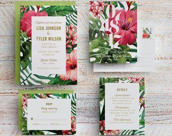 Tropical Wedding Invitation Hawaii Wedding Invite Beach Wedding