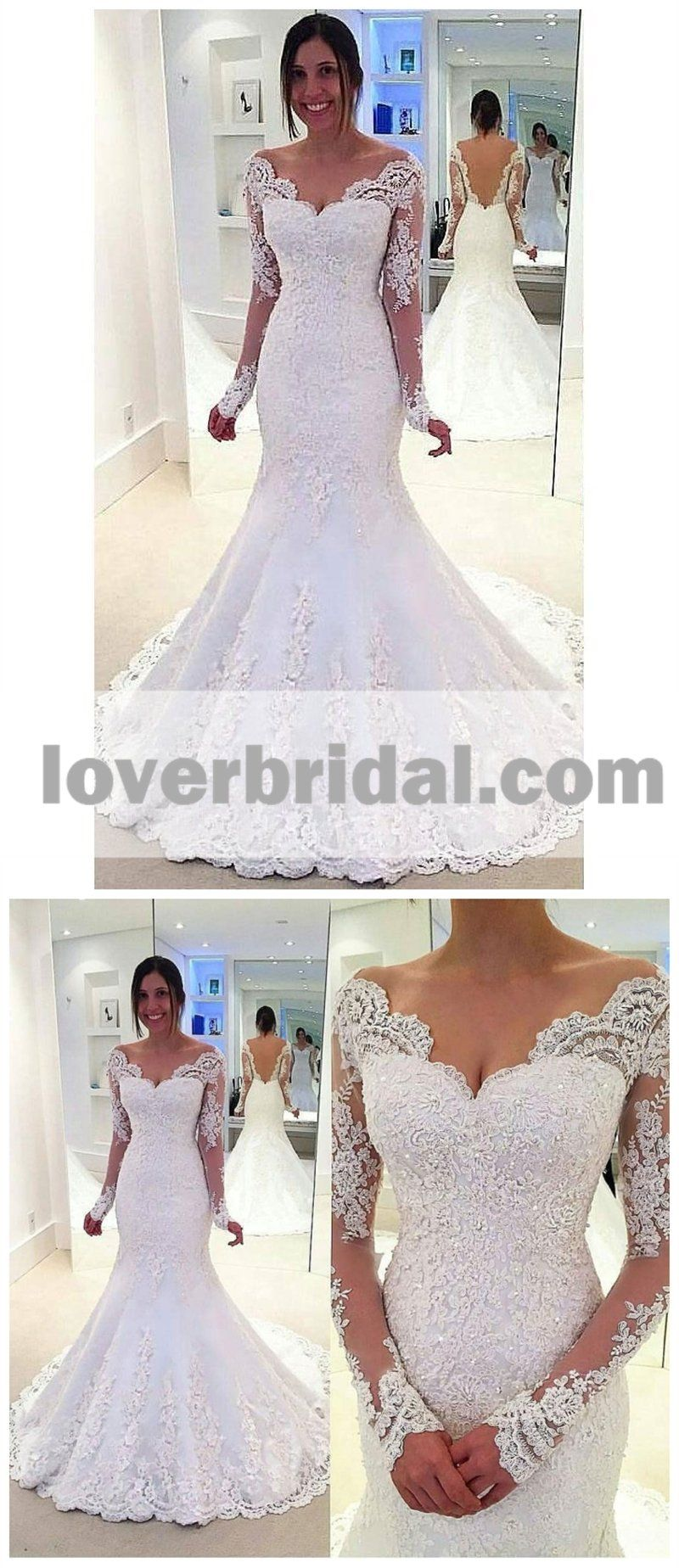 Long sleeve off shoulder mermaid lace custom wedding dresses online