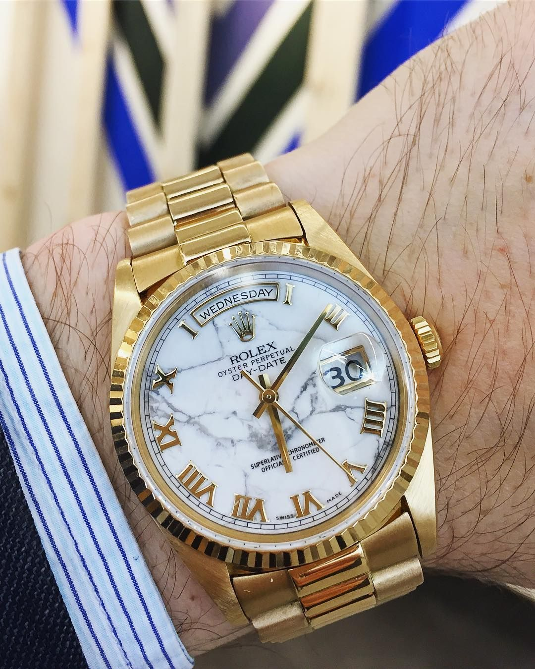 0463f4a3d050c Sotheby s ( sothebys) on Instagram  «It s a marble marvel! This  rolex  Yellow Gold Automatic Center Seconds Wristwatch featuring a white…»