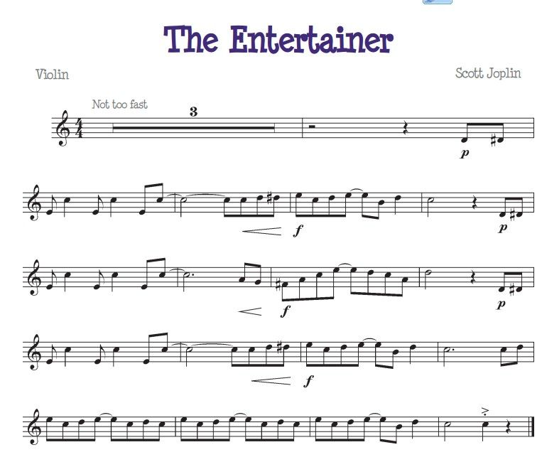 The Entertainer For The Beginner Violinist