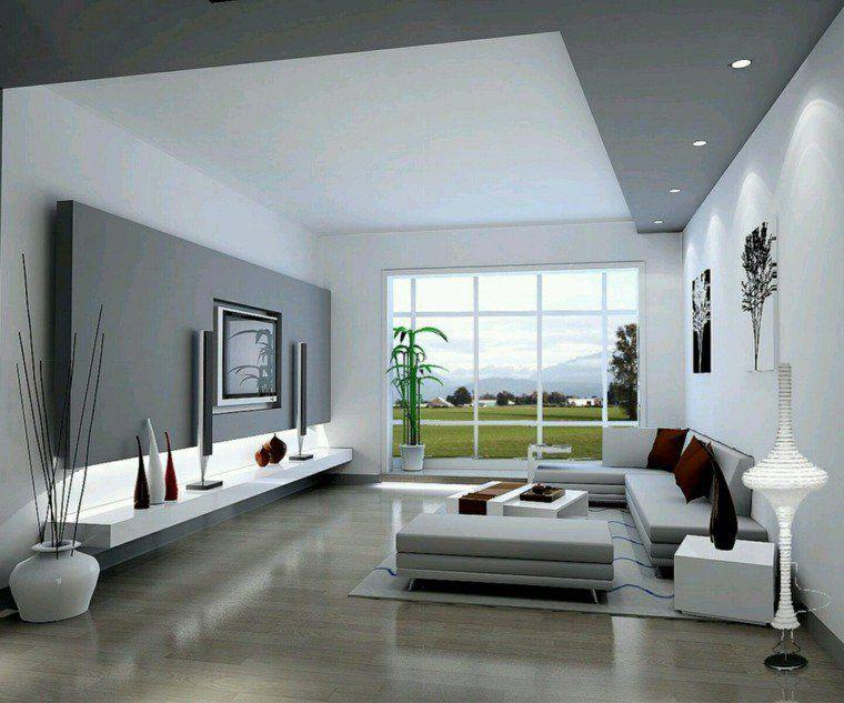 salon moderne gris