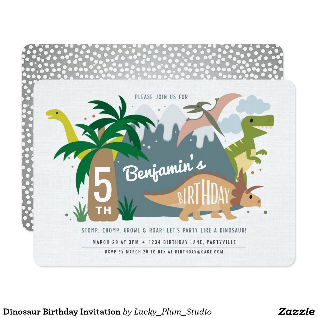 Dinosaur Birthday Invitation | Party Invitations | Pinterest ...
