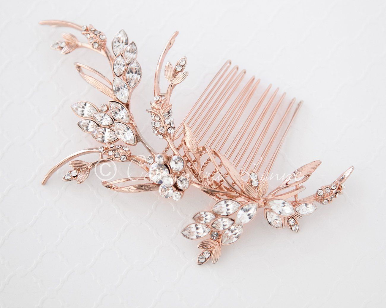 Rose Gold Bridal Hair Comb With Marquise Jewels Gold Bridal Hair Comb Gold Hair Piece Gold Bridal Hair Accessories