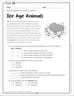Ice Age Animals: Grade 5 Close Reading Passage | Close ...
