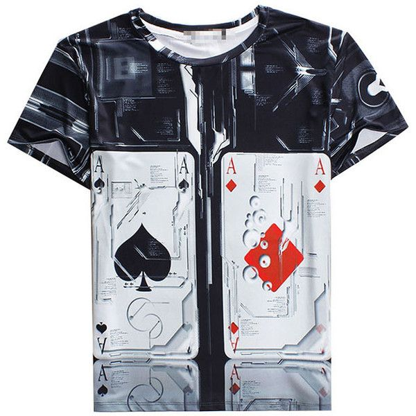 T Shirt Womens 3D Poker Card Printed Fashion Black ($15) ❤ liked on Polyvore featuring tops, t-shirts, black, black top, black t-shirt and black tee